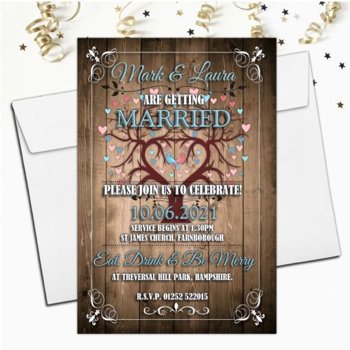 10 Personalised Premium Wedding Invitations Day or Evening N72 Wood Designs